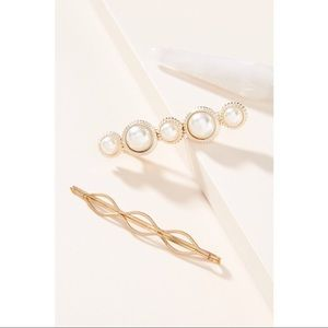 NWOT Anthropologie pearl barrette set of 3